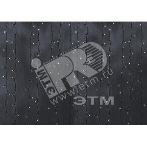 Гирлянда Светодиодный Дождь 2х3м постоянное свечение черный провод 220В белый (235-145)